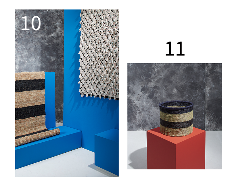 patterned rugs and basket