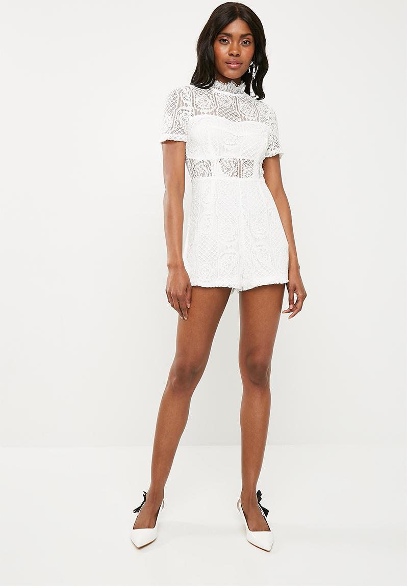 4bb8a68c41 Lace short sleeve playsuit - white Missguided Jumpsuits   Playsuits ...