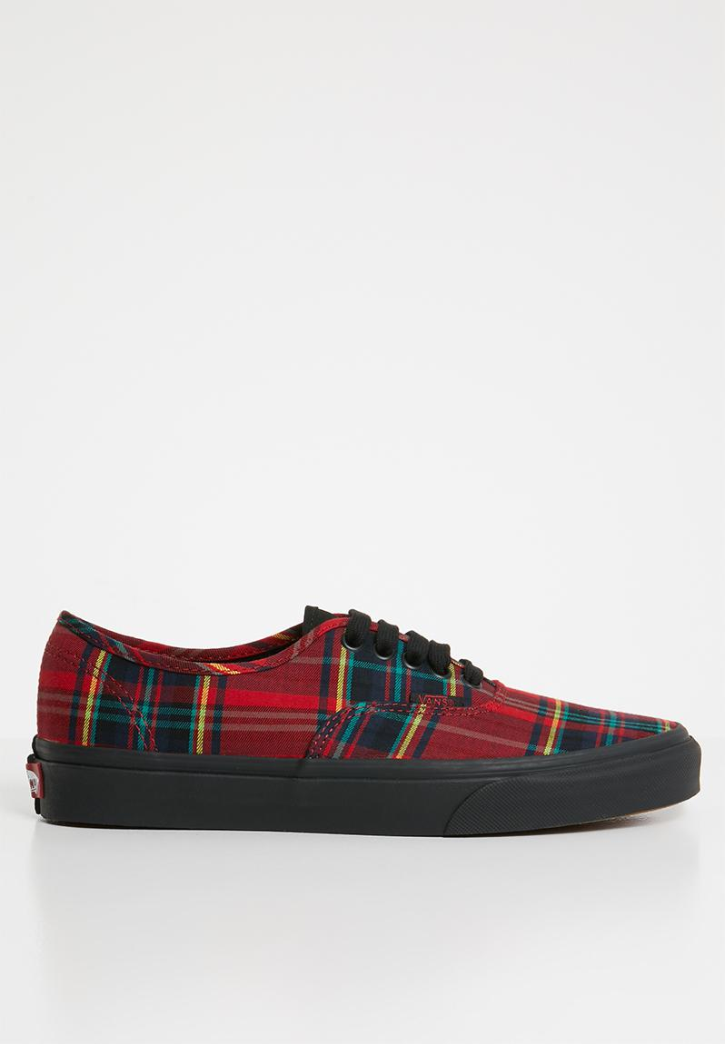 99e52becba Vans Authentic - Plaid Mix Red   Black Vans Sneakers