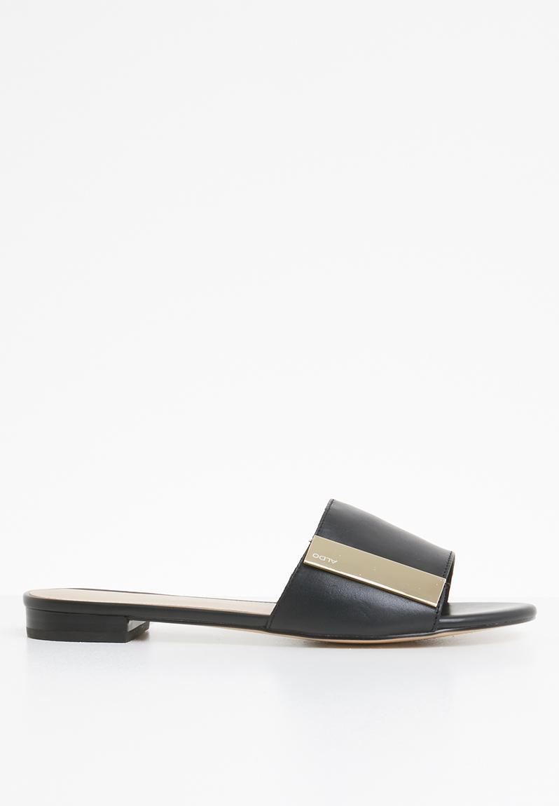 29dbf1adb570 Aladoclya flat block slide sandal - black leather ALDO Sandals   Flip Flops