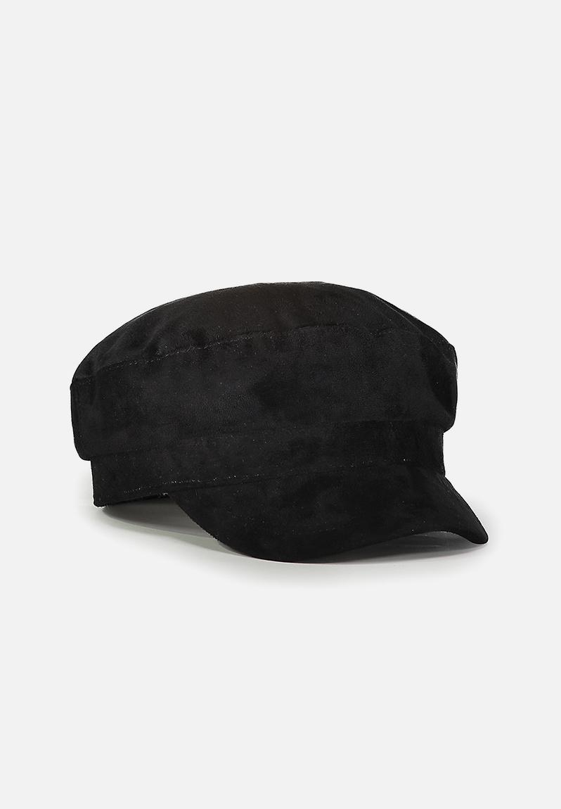 Bailey baker boy cap - black faux suede Cotton On Headwear ... e25b4476017