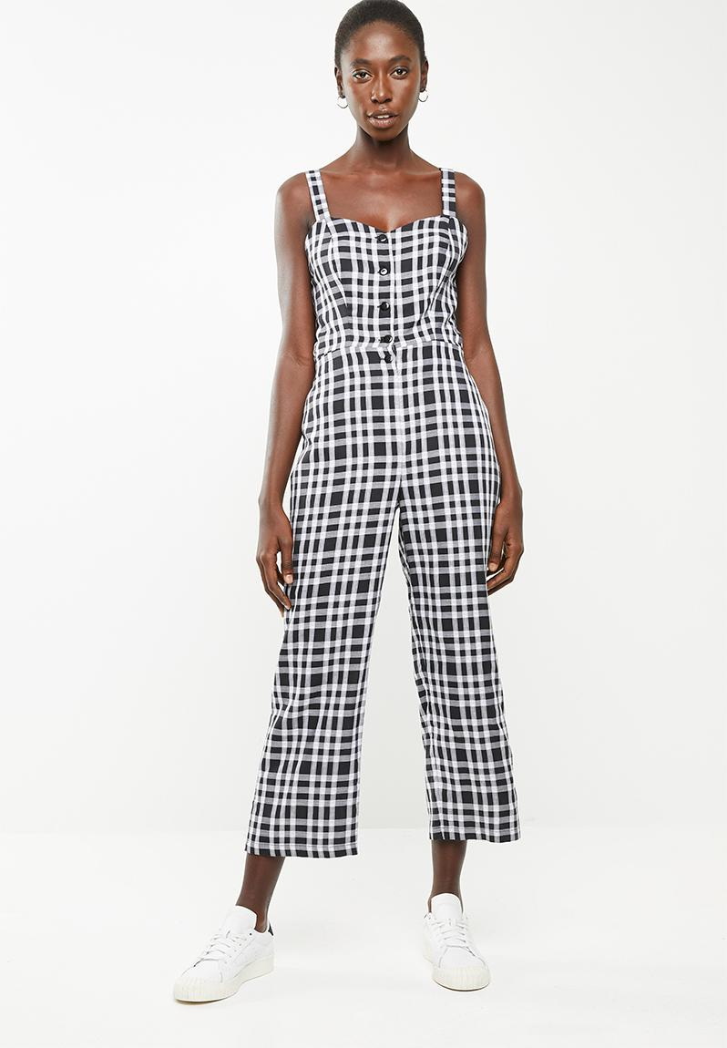 c29209276c Tie back jumpsuit - black and white check Superbalist Jumpsuits   Playsuits