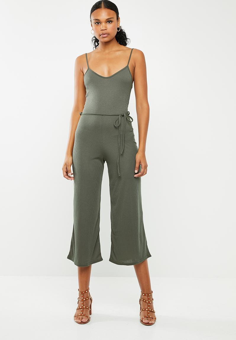 fdd7220989e Rib culotte jumpsuit - khaki Missguided Jumpsuits   Playsuits ...