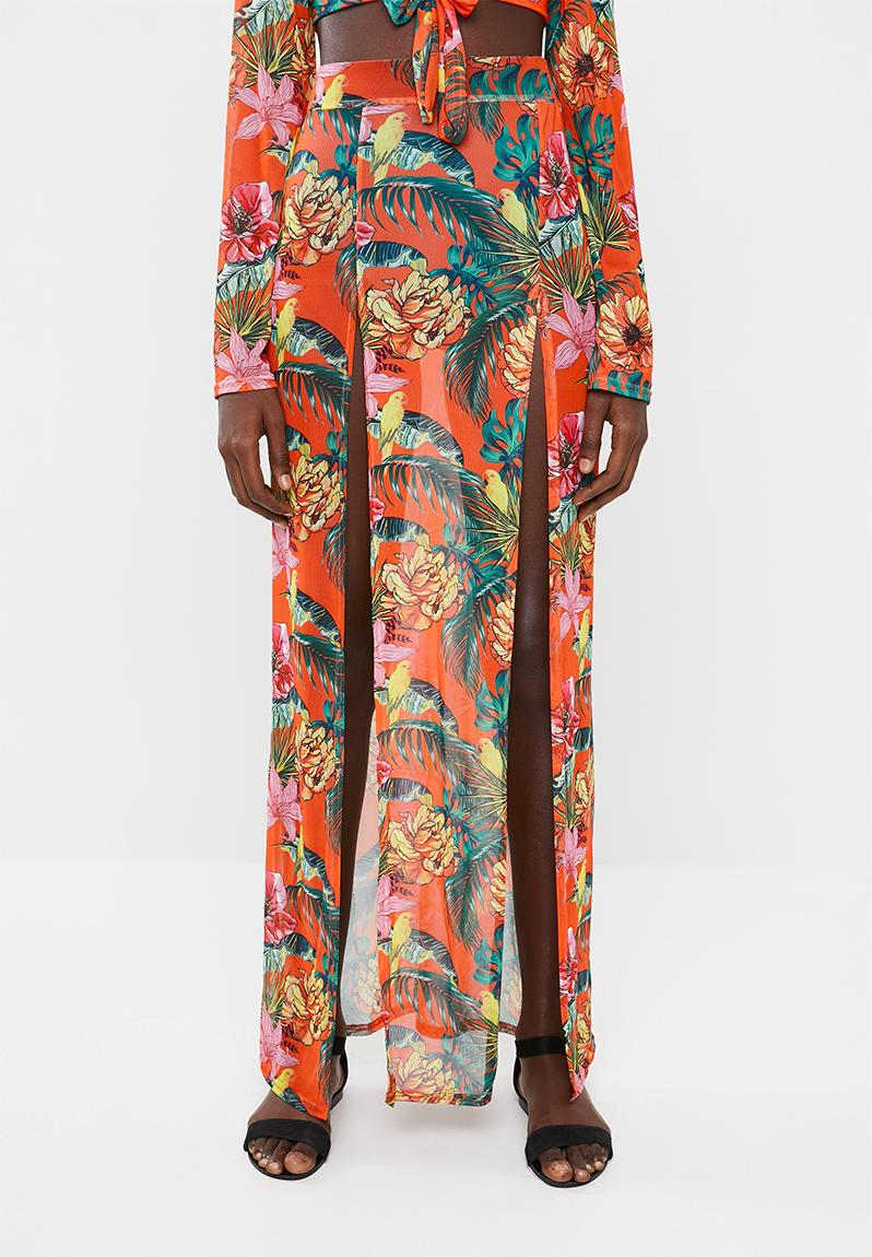 fcb7dfd136 Mesh floral split maxi skirt - orange Missguided Kaftans & Cover Ups |  Superbalist.com