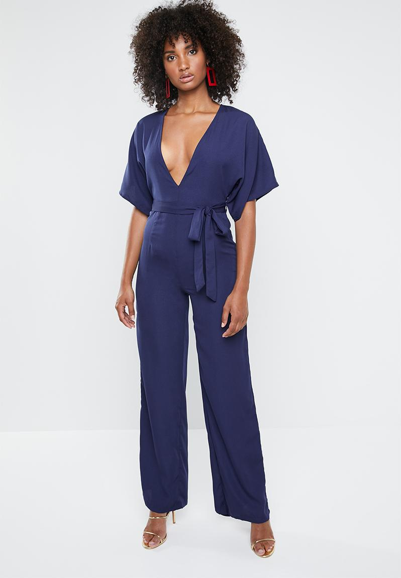 cd0ece002fa Kimono belted plunge jumpsuit - navy Missguided Jumpsuits   Playsuits