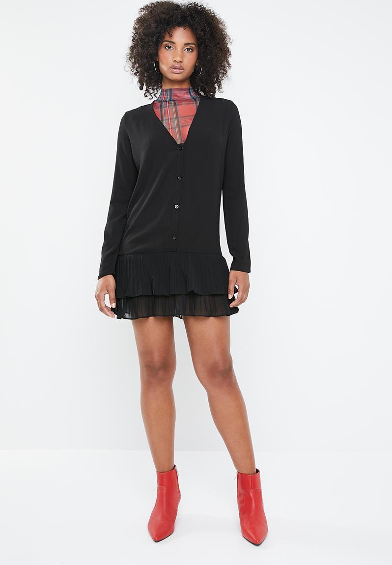 e1db3ad64ad Pleated hem ls shift dress - black Missguided Casual