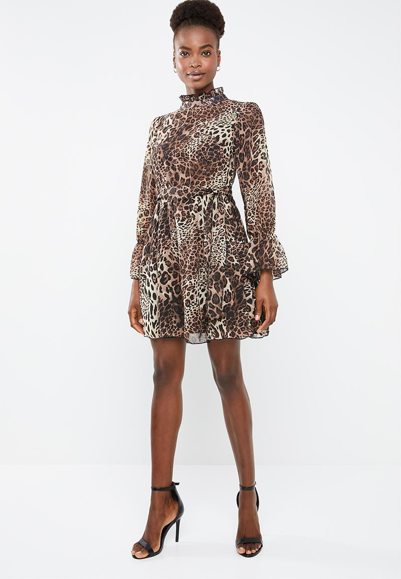 c3eed991c17f High neck tie waist smock dress leopard print - brown Missguided Casual |  Superbalist.com
