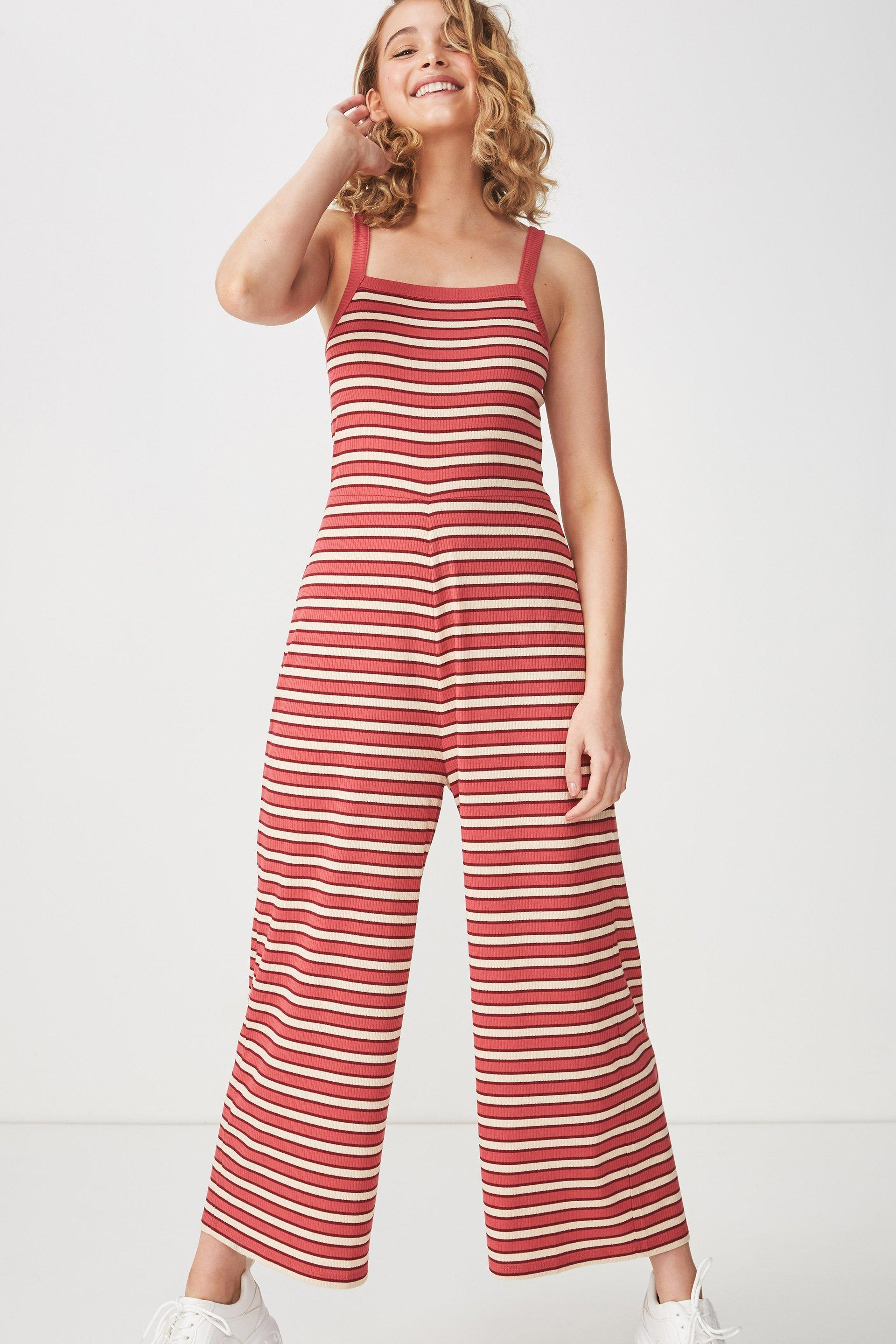 268fba1901b8 Valerie strappy wide leg jumpsuit - red stripe Cotton On Jumpsuits    Playsuits