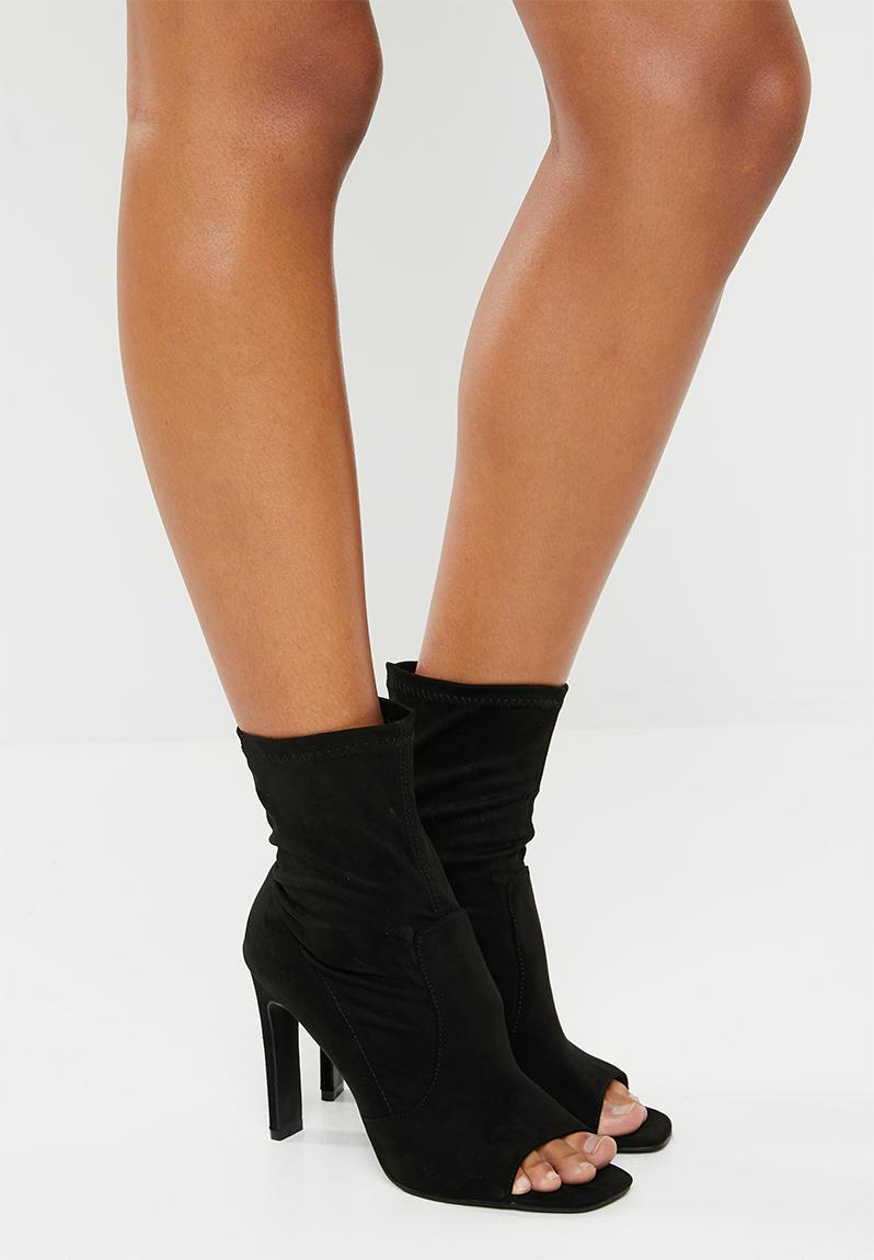 Craze sock fit peep toe ankle - black