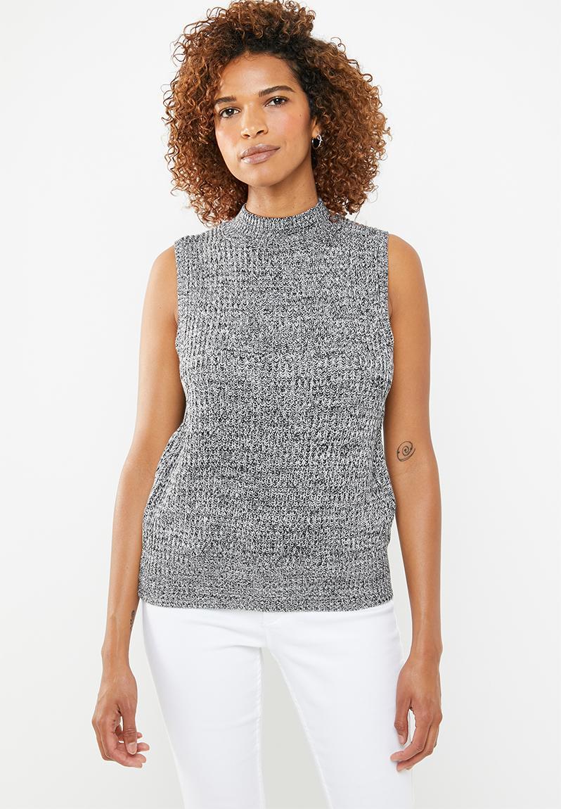 e6f227ac3db6c Sleeveless turtleneck crop jersey - grey STYLE REPUBLIC Knitwear ...