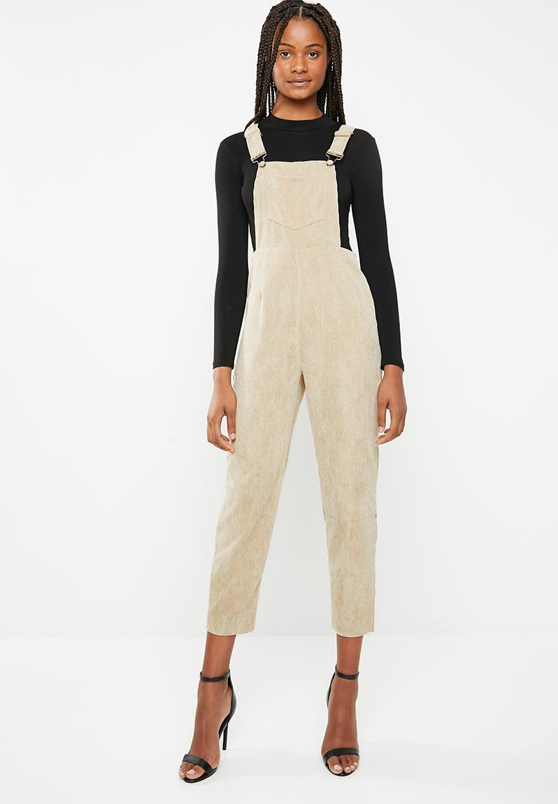 5e245ba169c Cord dungaree jumpsuit - stone Missguided Jumpsuits   Playsuits ...