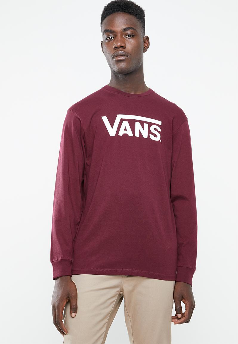 8de054a574b9 Vans classic long sleeve tee - burgundy   white Vans T-Shirts   Vests