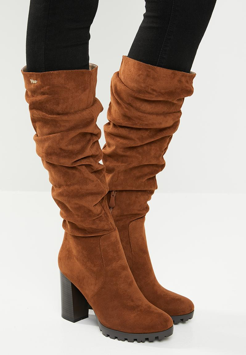 f6eaf7ba51bf Ruched knee length block heel boot - tan Plum Boots | Superbalist.com