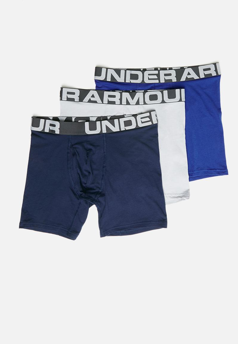 Royal//Academy//Gray NEW Under Armour Cotton Boxers 6 Inch 3 Pack ALL SIZES