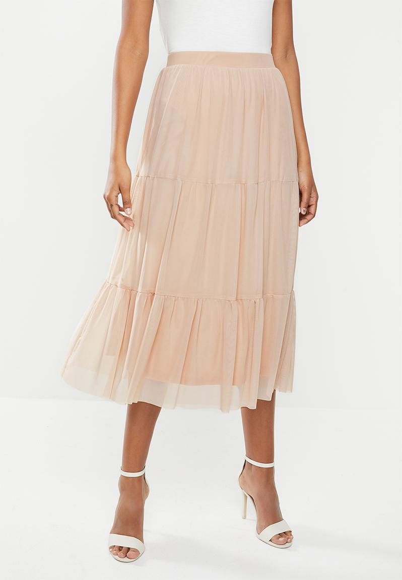 Mesh tiered midi skirt with waistband - nude MILLA Skirts