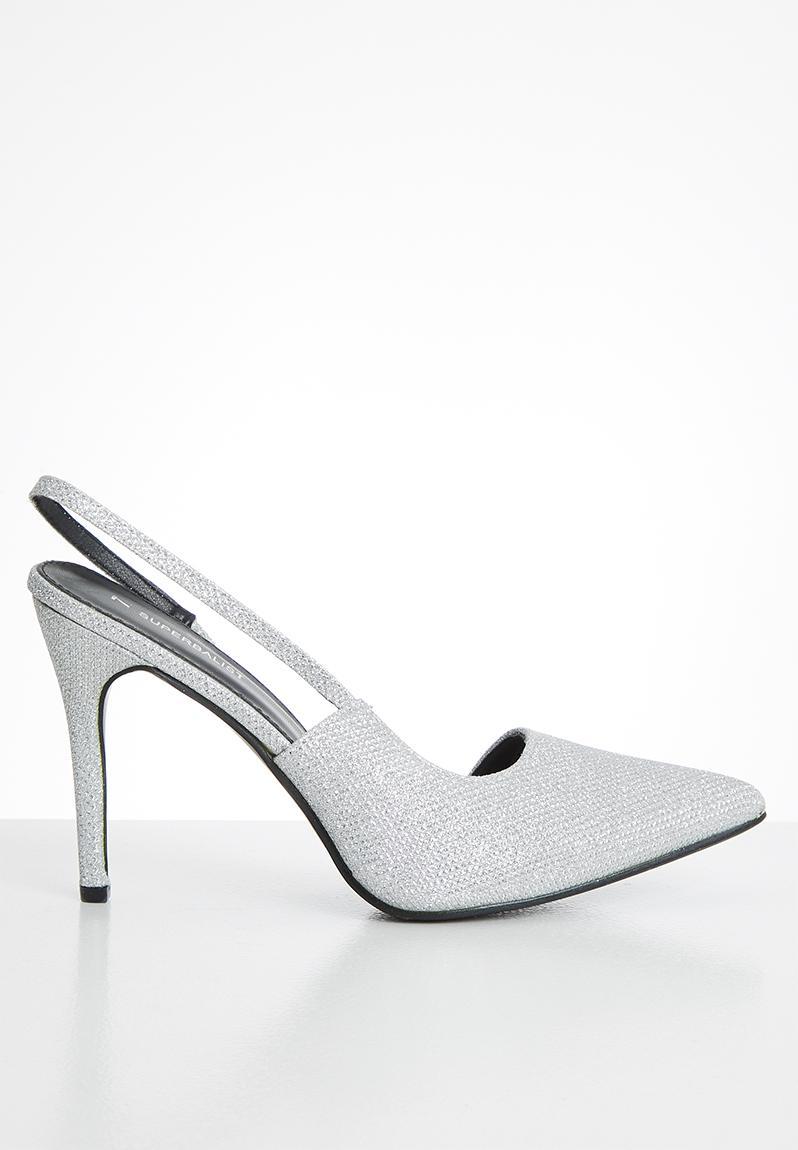 silver glitter slingback heels