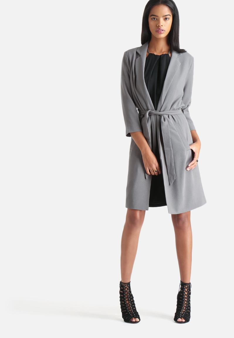 goia 3 4 trenchcoat pewter vero moda coats. Black Bedroom Furniture Sets. Home Design Ideas