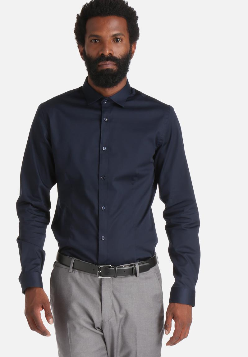 Parma super slim shirt navy jack jones formal for Super slim dress shirts