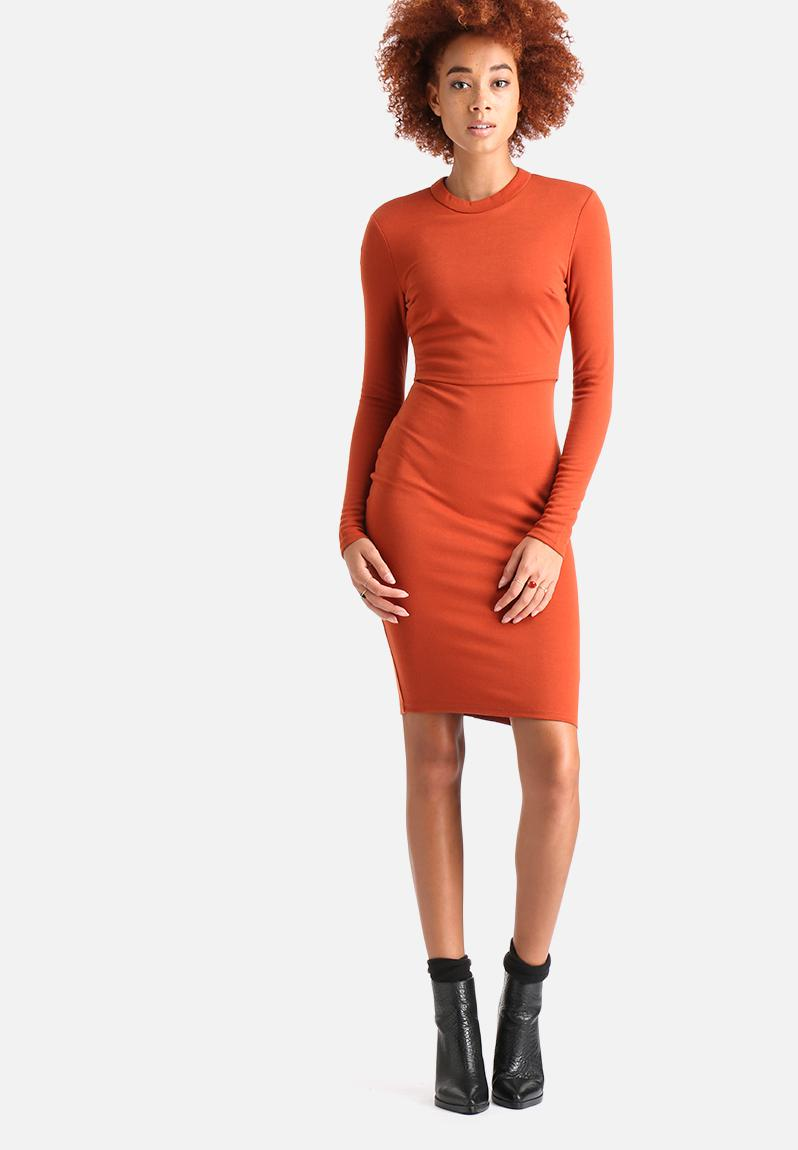 Long Sleeved Over Lay Bodycon Dress - Rust AX Paris Casual ...