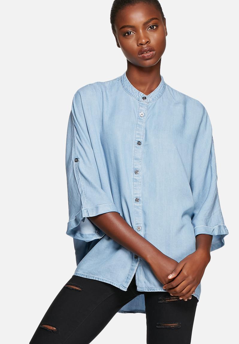 Alex denim shirt light blue denim noisy may shirts for Ladies light denim shirt