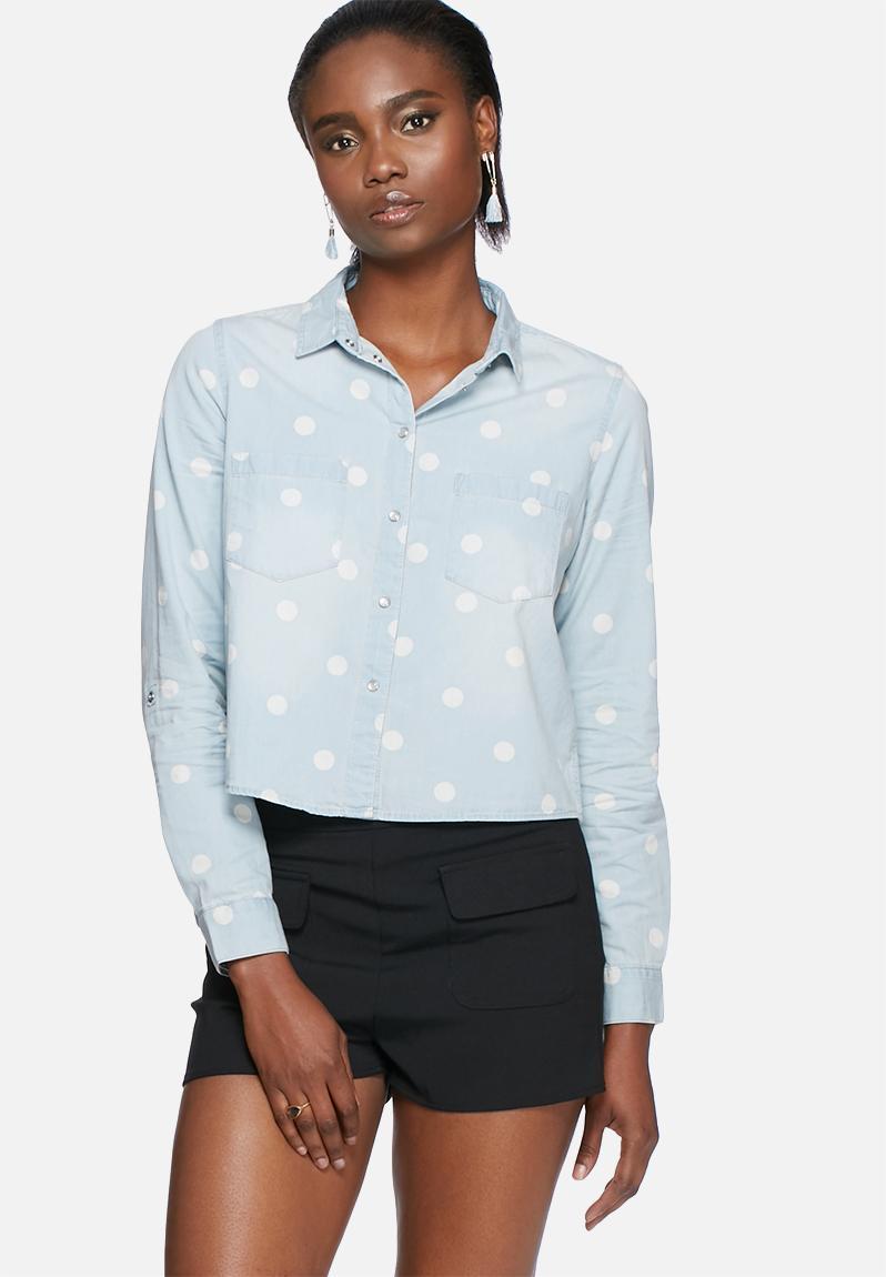 Always cropped shirt light blue denim 2 only shirts for Ladies light denim shirt