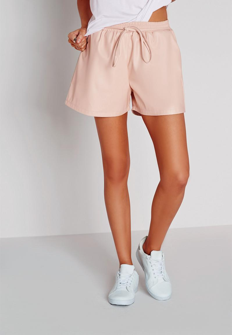 Tie waist detail faux leather shorts-nude Missguided