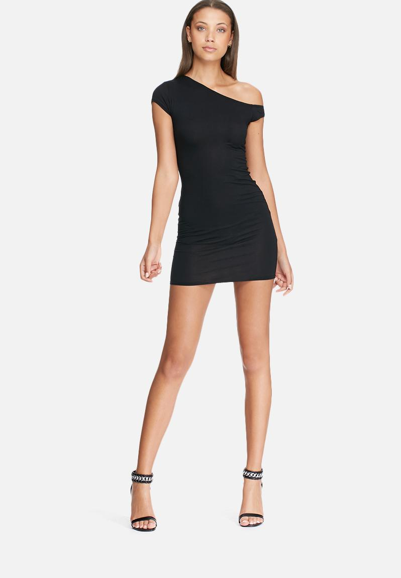 Slouch Off Shoulder T Shirt Dress Black Missguided Casual