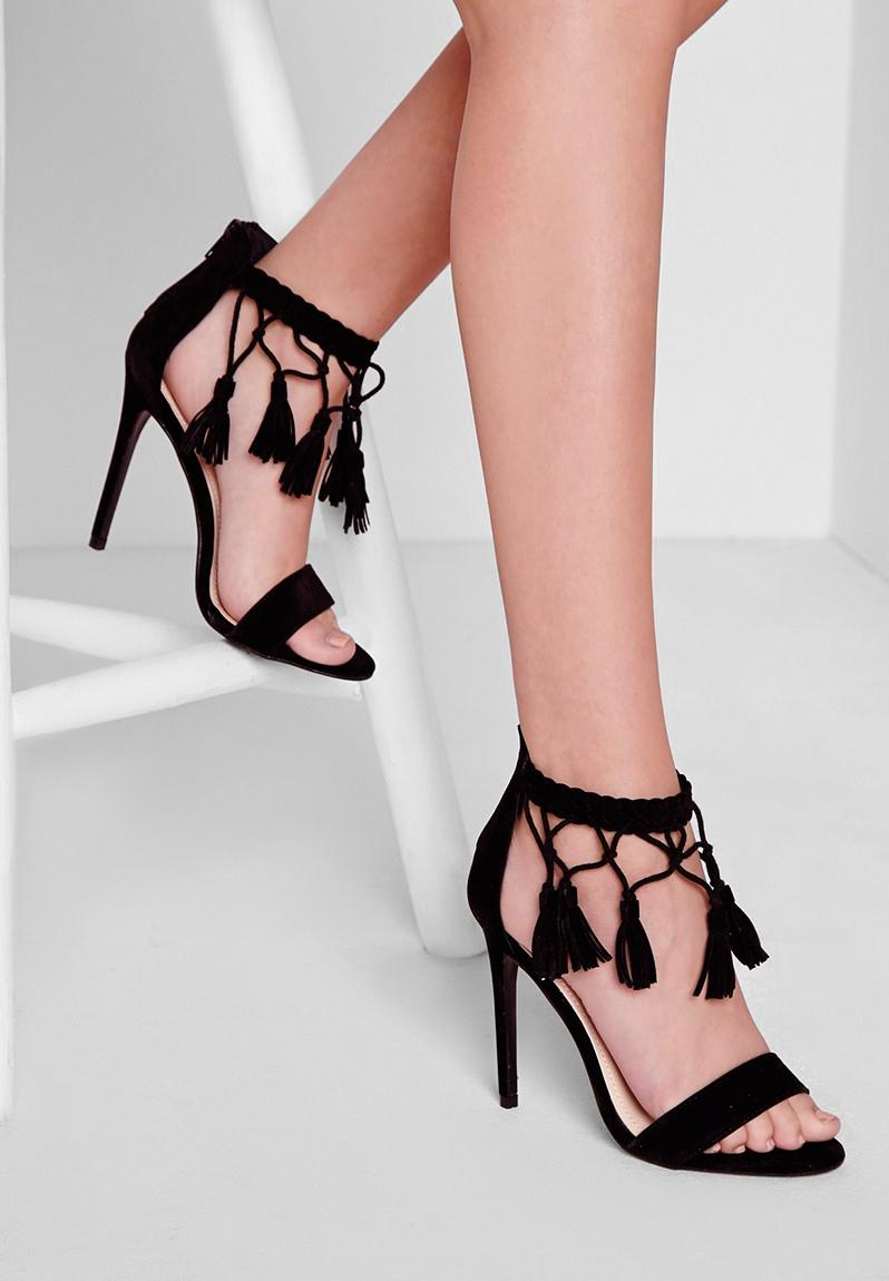 bcf70140619 F3600985 (Tassel Ankle Strap Barely There Heeled Sandals) - BLACK  Missguided Heels