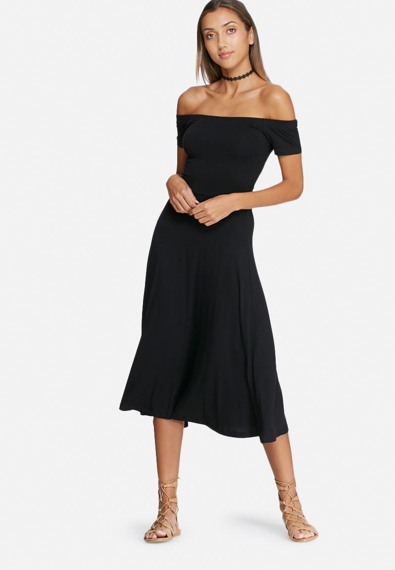 Wrap Back Off Shoulder Midi Dress Black Dailyfriday