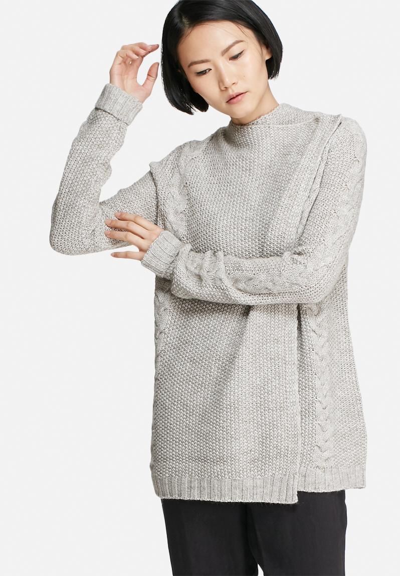 d342e18824 Riva cable knit cardigan - light grey melange VILA Knitwear ...