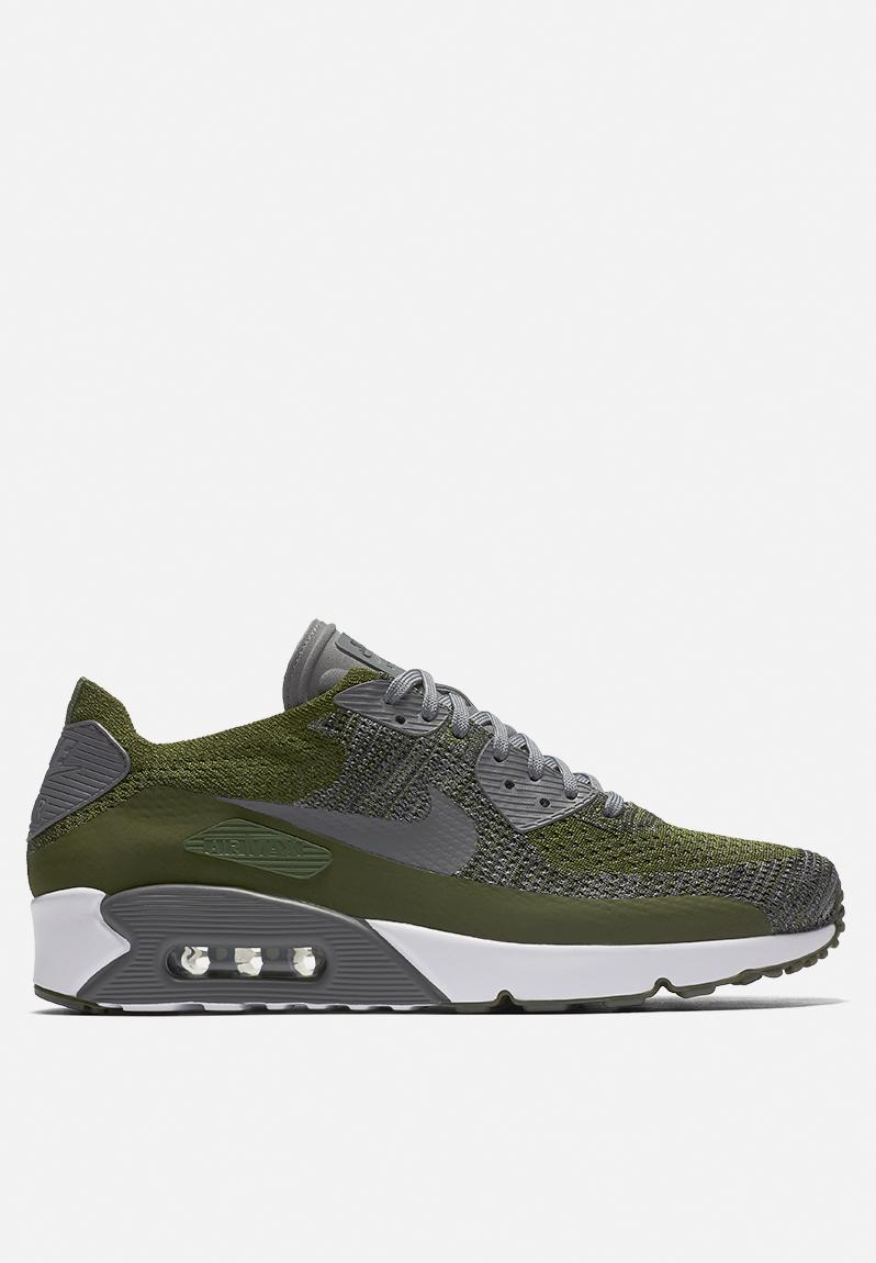 Cheapest Nike Air Max 90 Ultra 2. 0 Flyknit Rough Green Dark Grey White Black 875943 300 Men's Running Shoes Fashion Sneakers