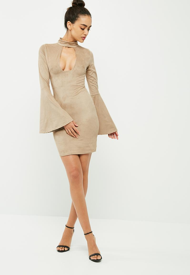 Lyst - Missguided Faux Suede Front Cowl Neck Midi Dress