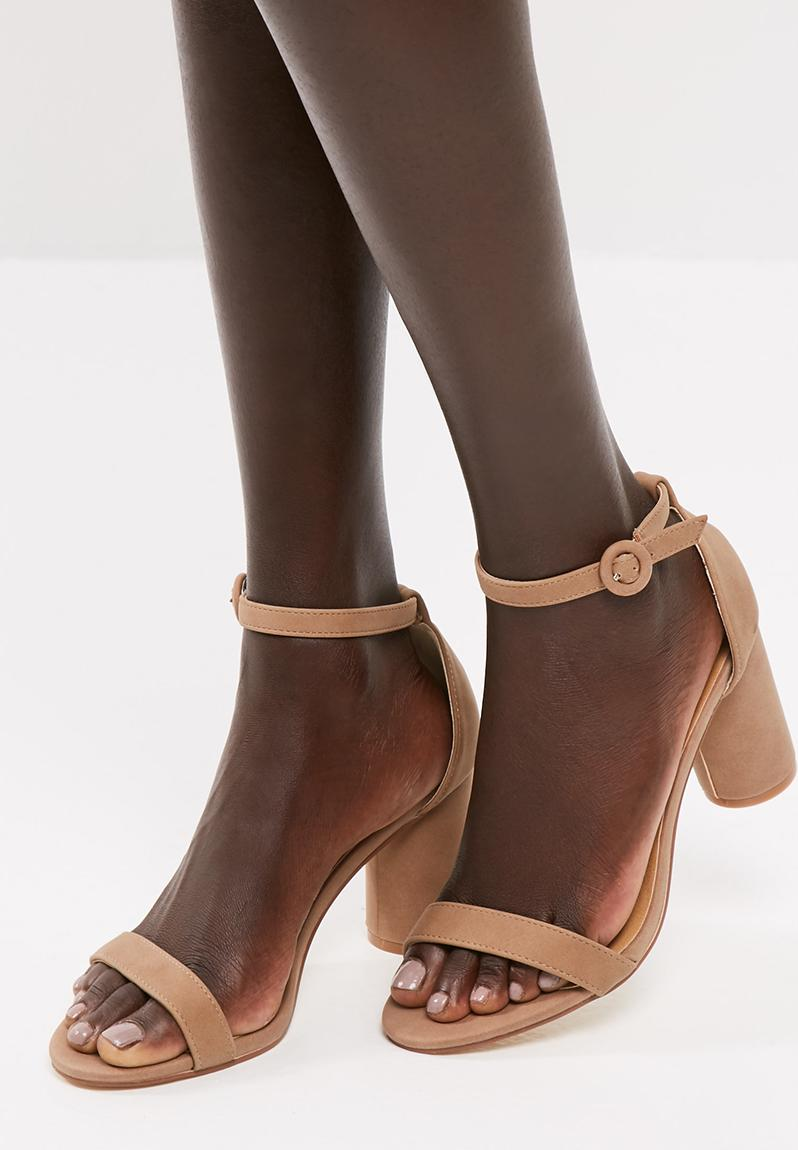 Shia platform heel sandal - blue & white stripe satin