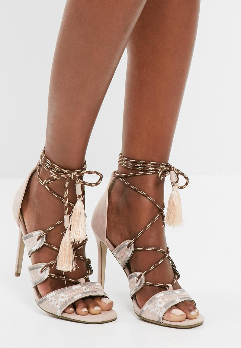 Missguided Nude Embroidered Lace Up Gladiator Heels in