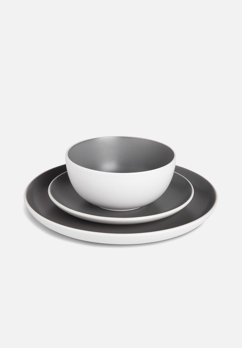 12 Piece Dinnerware Set Charcoal