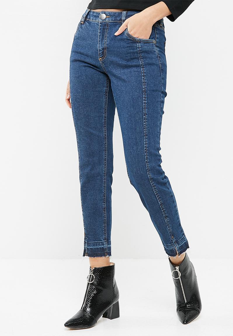 0b43c5e239a Mid rise grazer skinny jean 2 - Dark island blue front hem splits Cotton On  Jeans | Superbalist.com