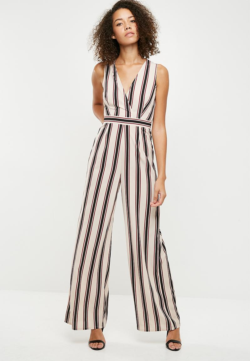 ddd7bf19111e Stripe wrap front sleeveless jumpsuit - cream Missguided Jumpsuits    Playsuits