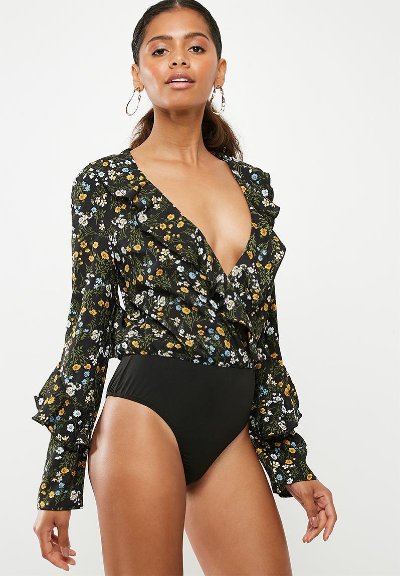 Floral frill front wrap bodysuit - black Missguided T-Shirts 0d97e61ad