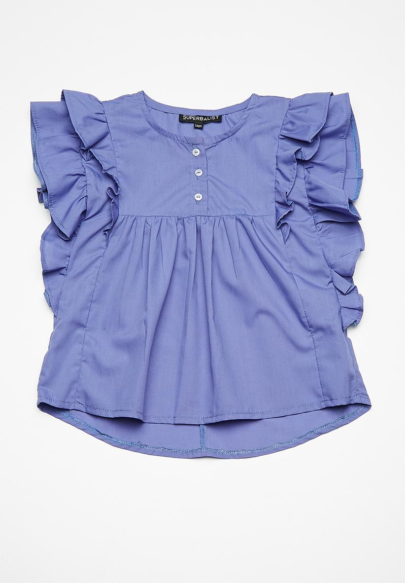 526f61463503 Butterfly sleeve blouse - blue Superbalist Tops | Superbalist.com