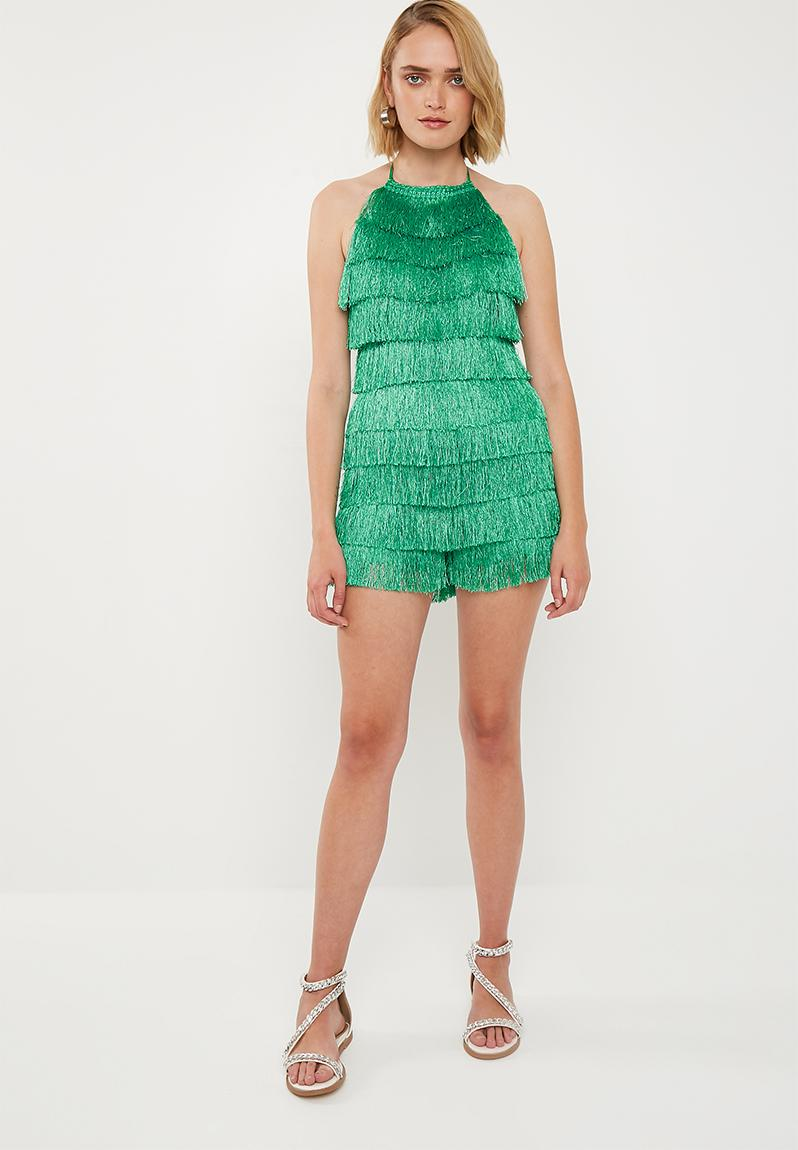 465ff0971017 Fringe 90s neck playsuit - green Missguided Jumpsuits   Playsuits ...