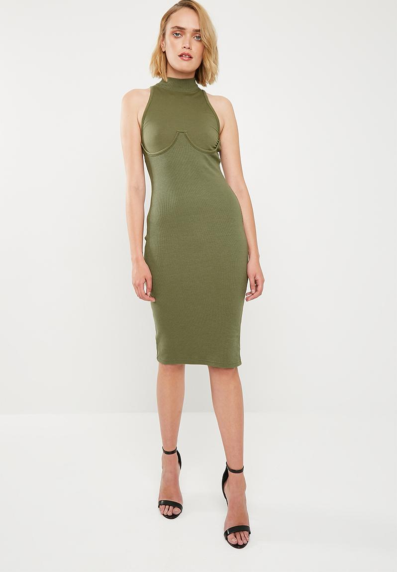 9f26a29c80c High neck bust cup bodycon midi dress - khaki Missguided Casual ...