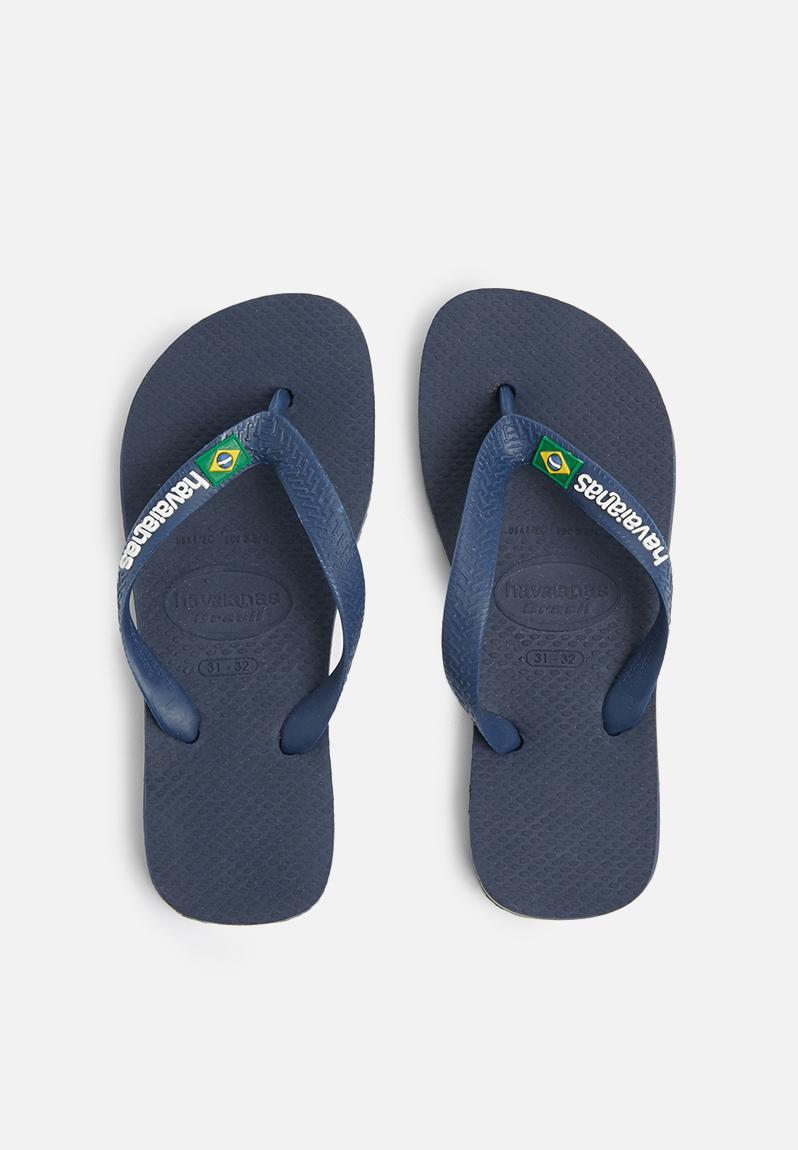 552596436 Kids Brazil logo sandals - navy blue Havaianas Shoes