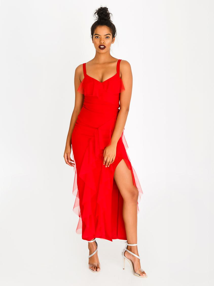 c715d199c58 Ruffle Detail Maxi Dress Red Sissy Boy Occasion