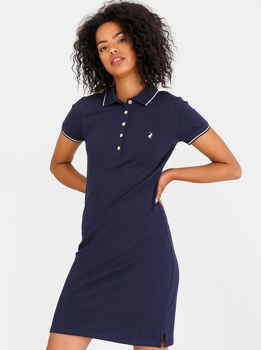 5eb431ef4172 Short Sleeve Navy Blue A Line Dress - raveitsafe