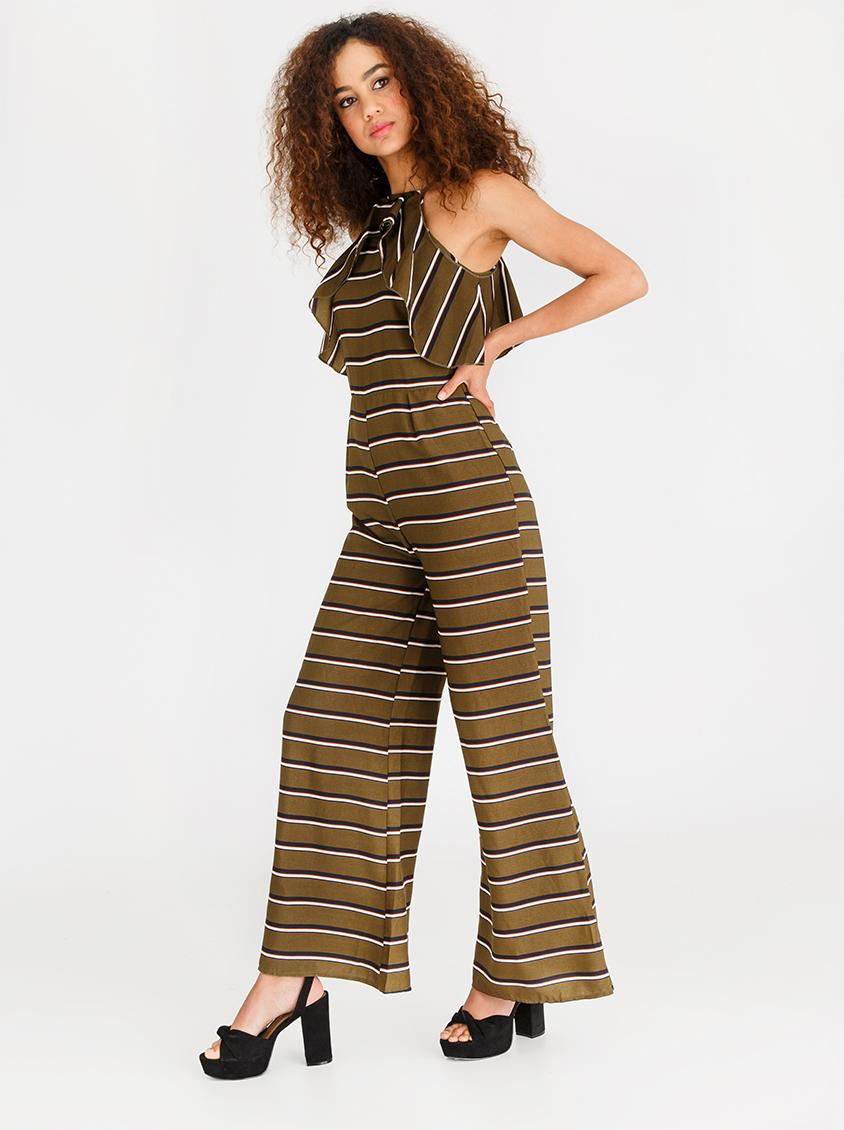c9a79c57571 Halterneck Wide Leg Striped Jumpsuit Khaki Green CRAVE Jumpsuits    Playsuits