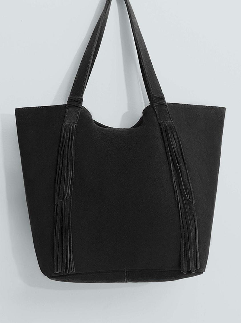 ecabb733a Suede Fringed Tote Bag Black MANGO Bags & Purses | Superbalist.com