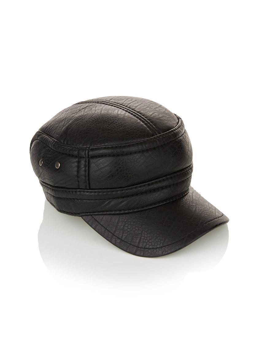 Leather-like train driver hat Black Jo Borkett Fashion Accessories ... f15ff62b9d2