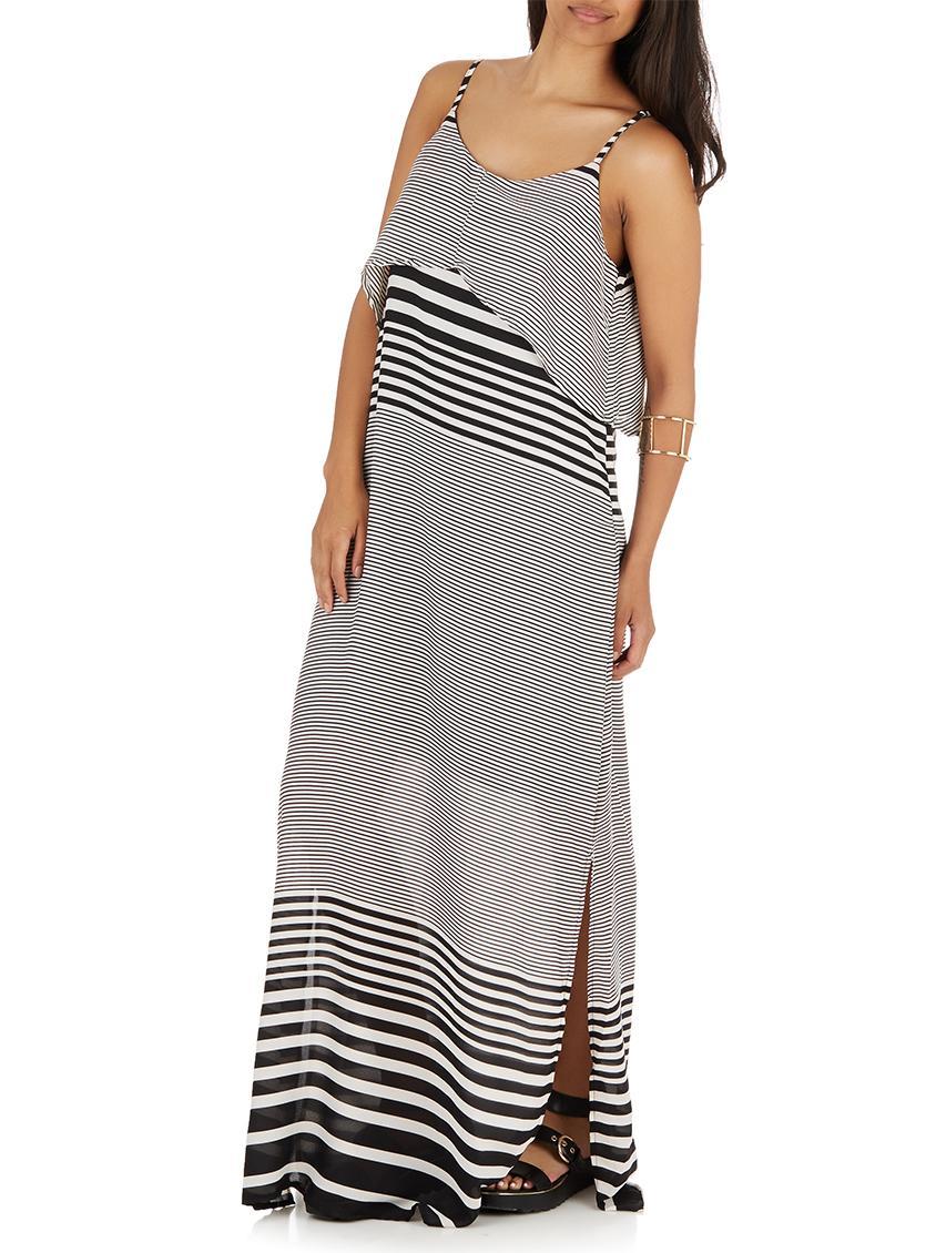 b31a1d506ec9d Casual Black And White Striped Maxi Dress