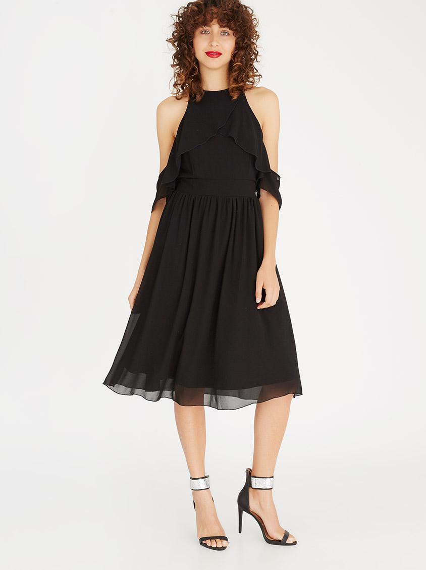 Cold Shoulder Midi Length Dress Black Eligere Occasion
