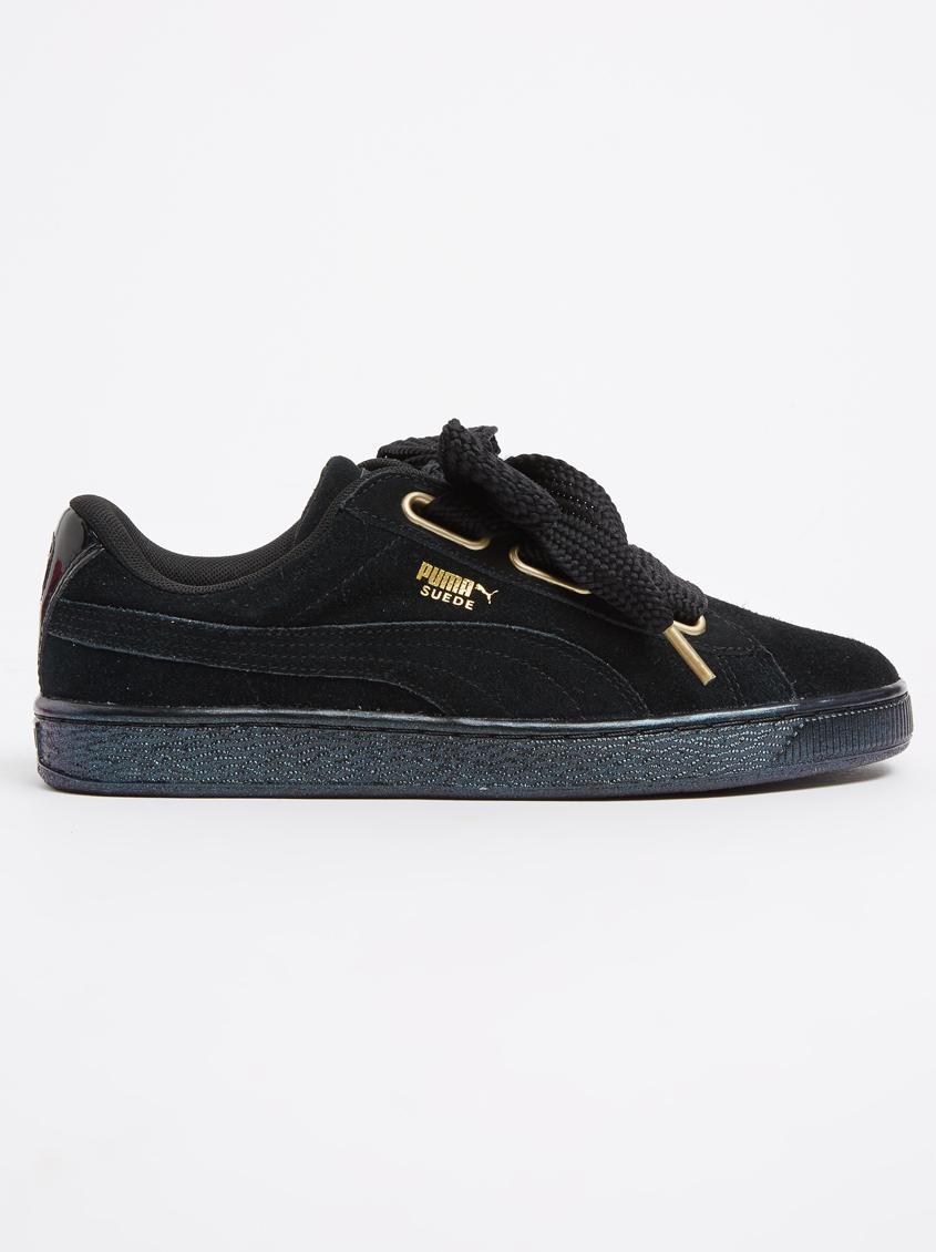 81ed1aff6ceb Puma Suede Heart Satin Black PUMA Sneakers